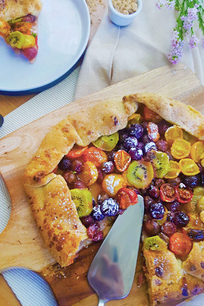 BAKED VEGAN GALETTE WITH TOMATOES, GRAPES, AND KIWI