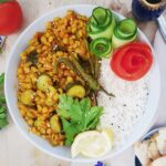 Yellow Split peas with zucchini served with white rice