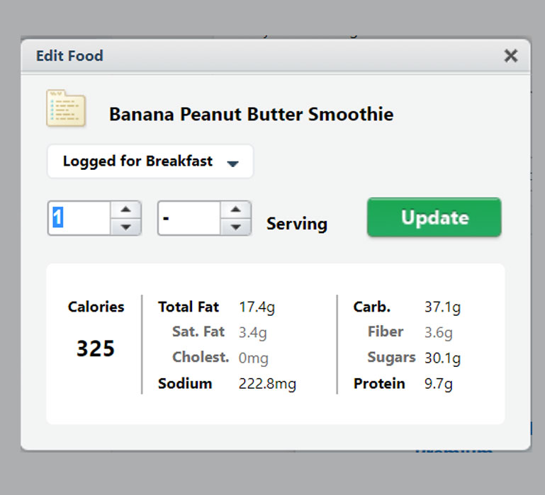 chart showing banana peanut butter smoothie calorie count