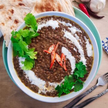 Lentil curry without coconut milk served in a bowl