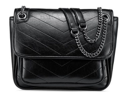 Black color vegan leather crossbody bag with chain sling.
