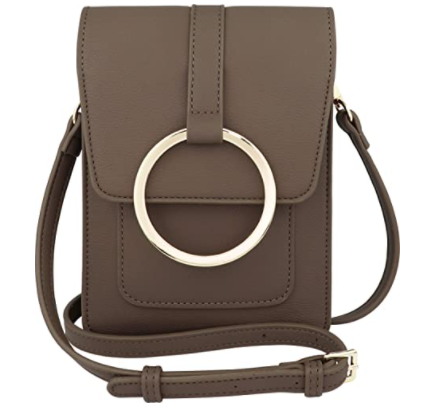 Grey color vegan leather crossbody mobile bag with golden ring