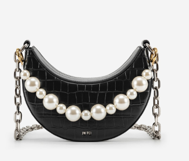 black color handbag with pearls embellishment and thick crossbody chain sling.