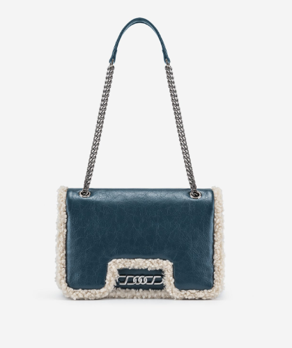 blue color vegan crossbody purse with chain sling