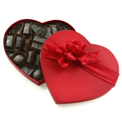 red heart shape box of vegan chocolates