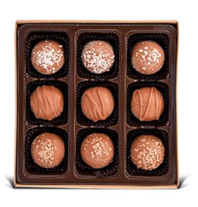 9 pcs vegan chocolate truffles in a box