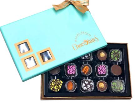 blue color vegan chocolate truffle box