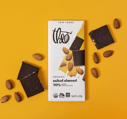 almonds and vegan chocolate bar