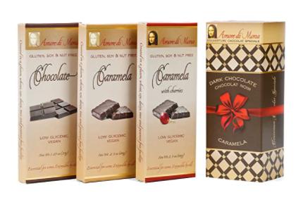 vegan chocolate bars and their box
