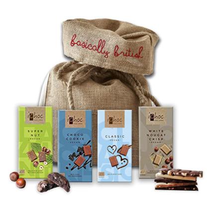 ichoc vegan chocolate bars with jute gift bag