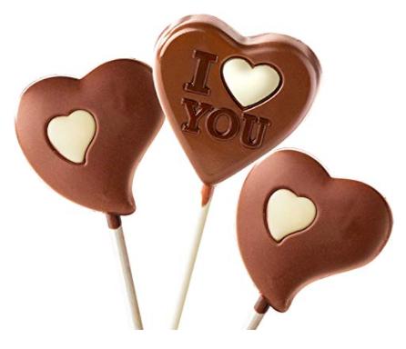 heart shape vegan chocolate lollipops