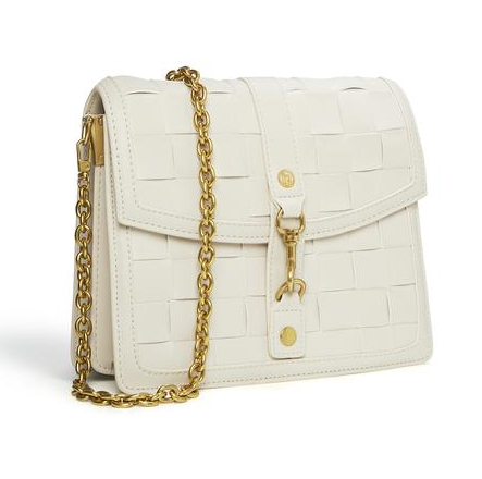 vegan leather crossbody bag in white with golden chain sling.