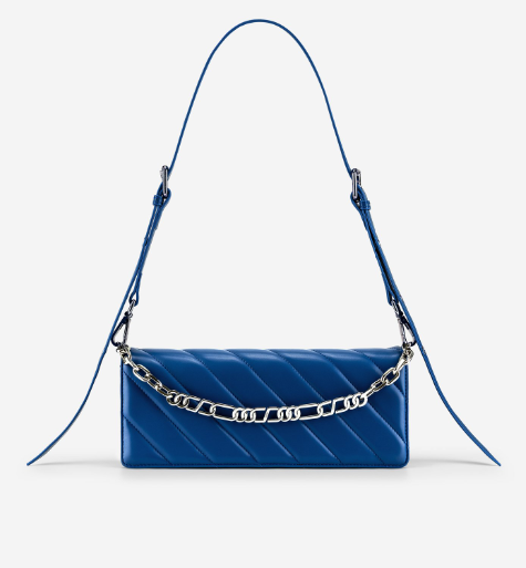 Blue color crossbody purse with silver chain