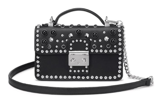 black color vegan handbag with crossbody sling embalished with pearls and stones.