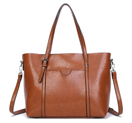 brown color pu leather crossbody tote bag