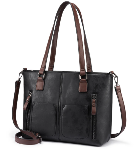 Faux Leather Tote Bag with Multi-Pockets and Crossbody Strap