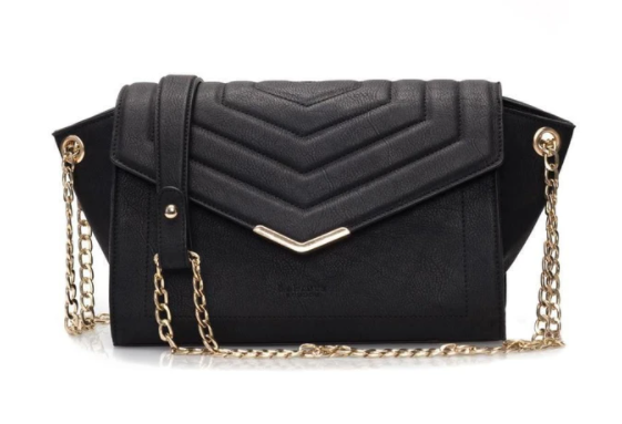 Black quilted vegan crossbody bag with golden chain