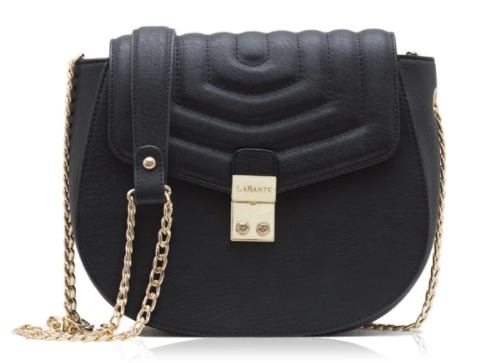 Black quilted flip small crossbody bag with golden chain sling