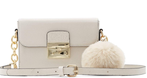 Vegan Leather white color bag with golden chain crossbody strap and buckle