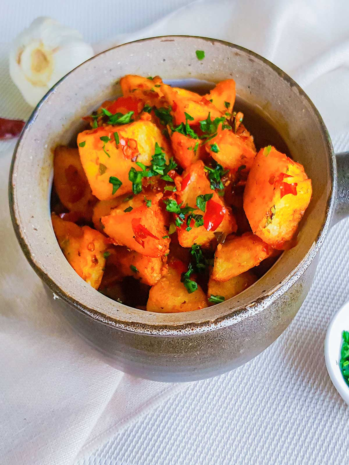 Batata Harrah served in a Bowl side view