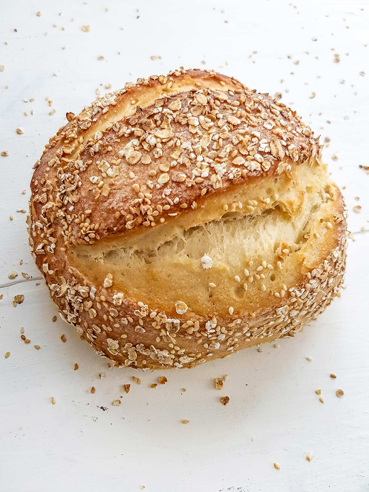 no knead bread dough loaf made without dutch overn