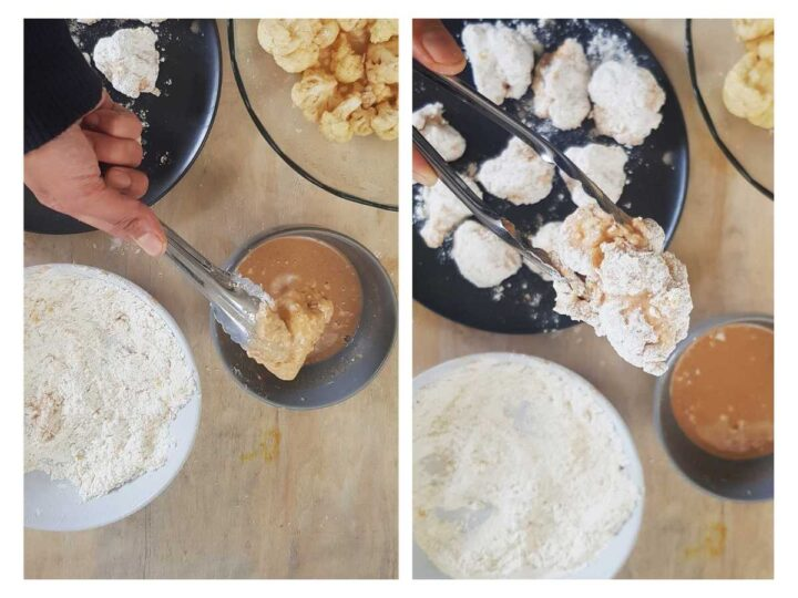 Fried Cauliflower marinade and dry coating