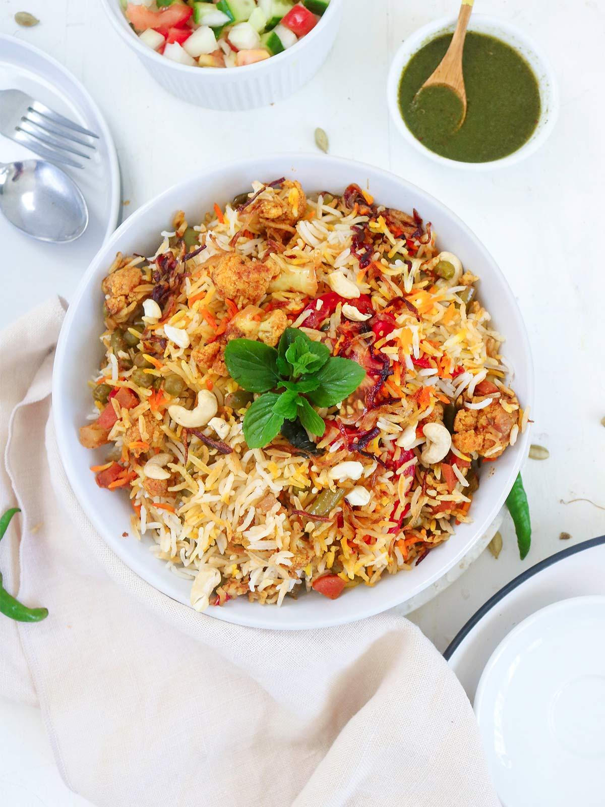 vegan biryani with green mint sauce