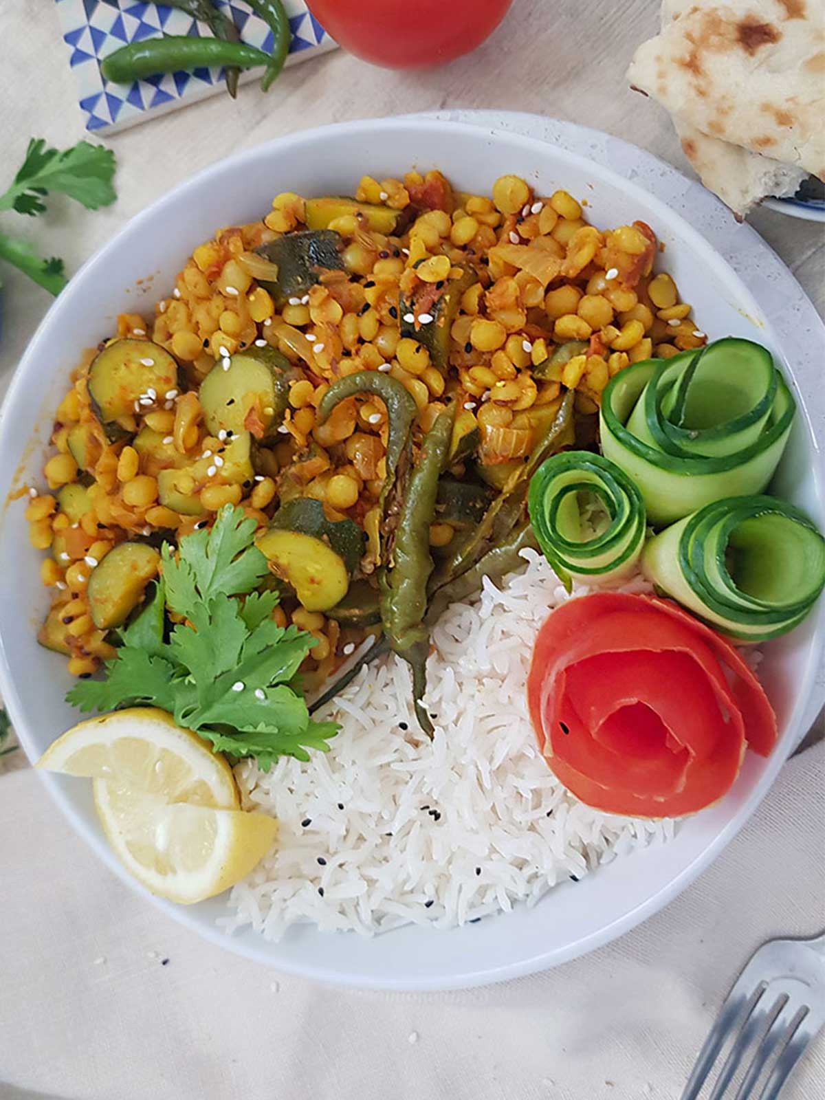 Yellow split peas with zucchini served in a bowl