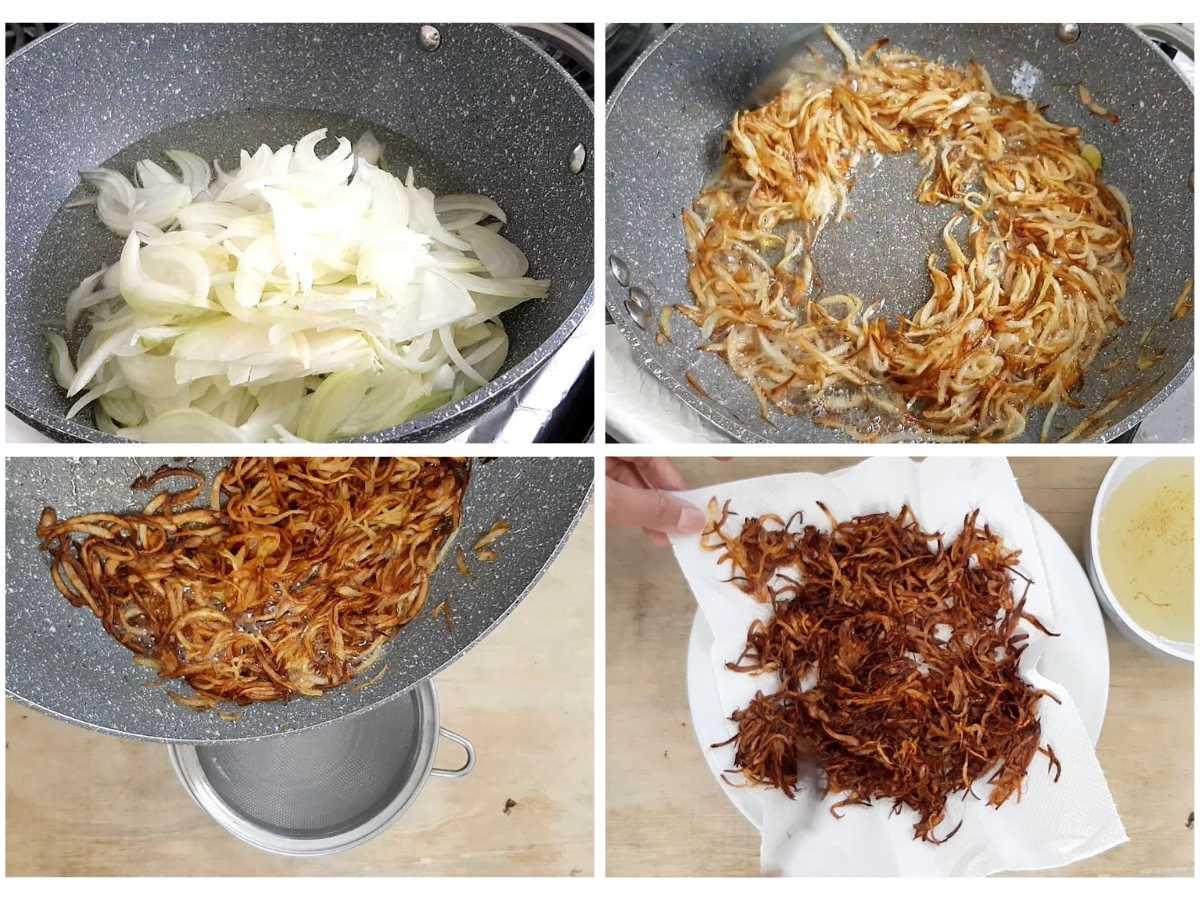 Frying onions for vegan biryani