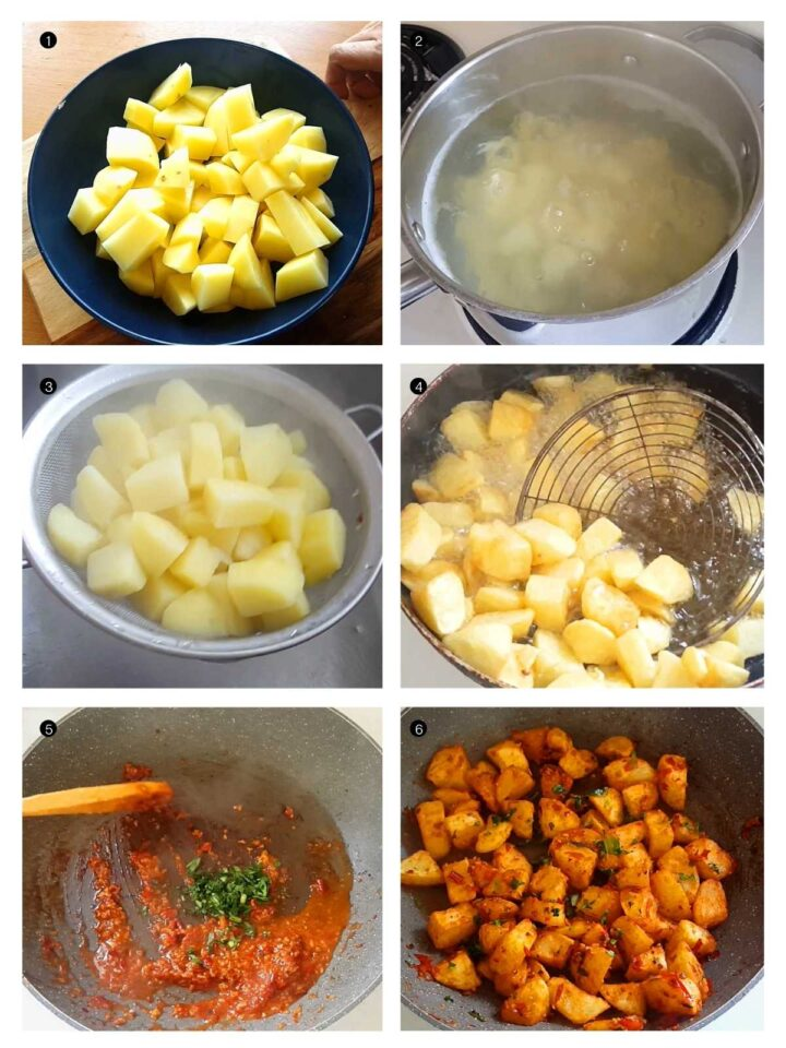 Step by step process of batata harrah