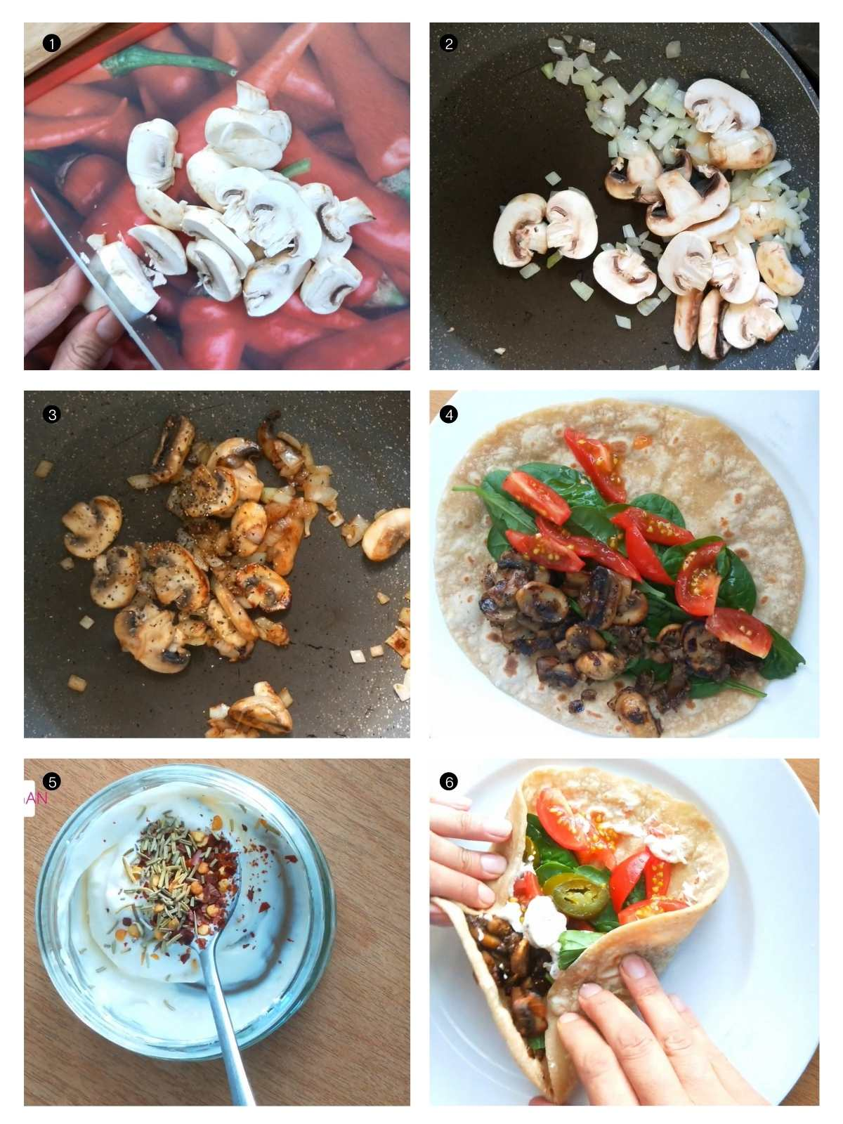 step by step process shots of how to make mushroom wrap