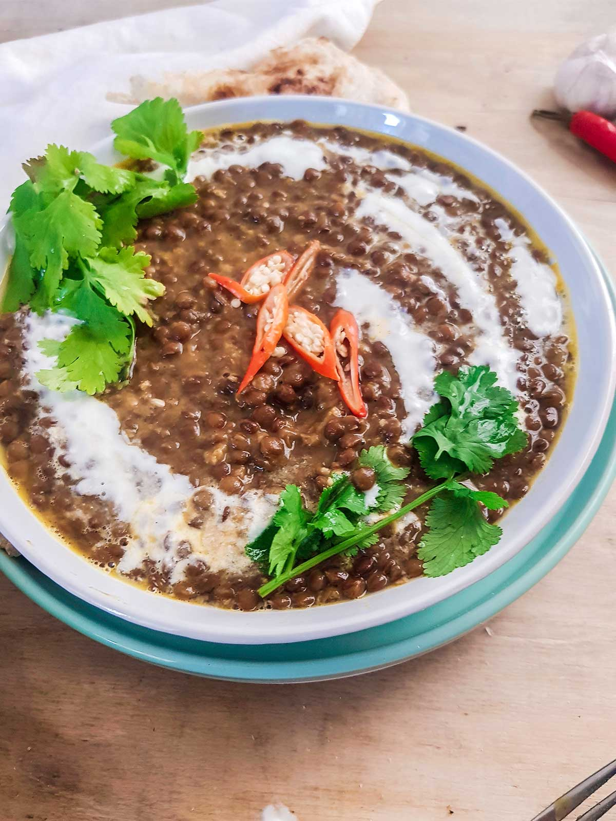 creamy and rich lentil curry without coconut milk served in a bowl
