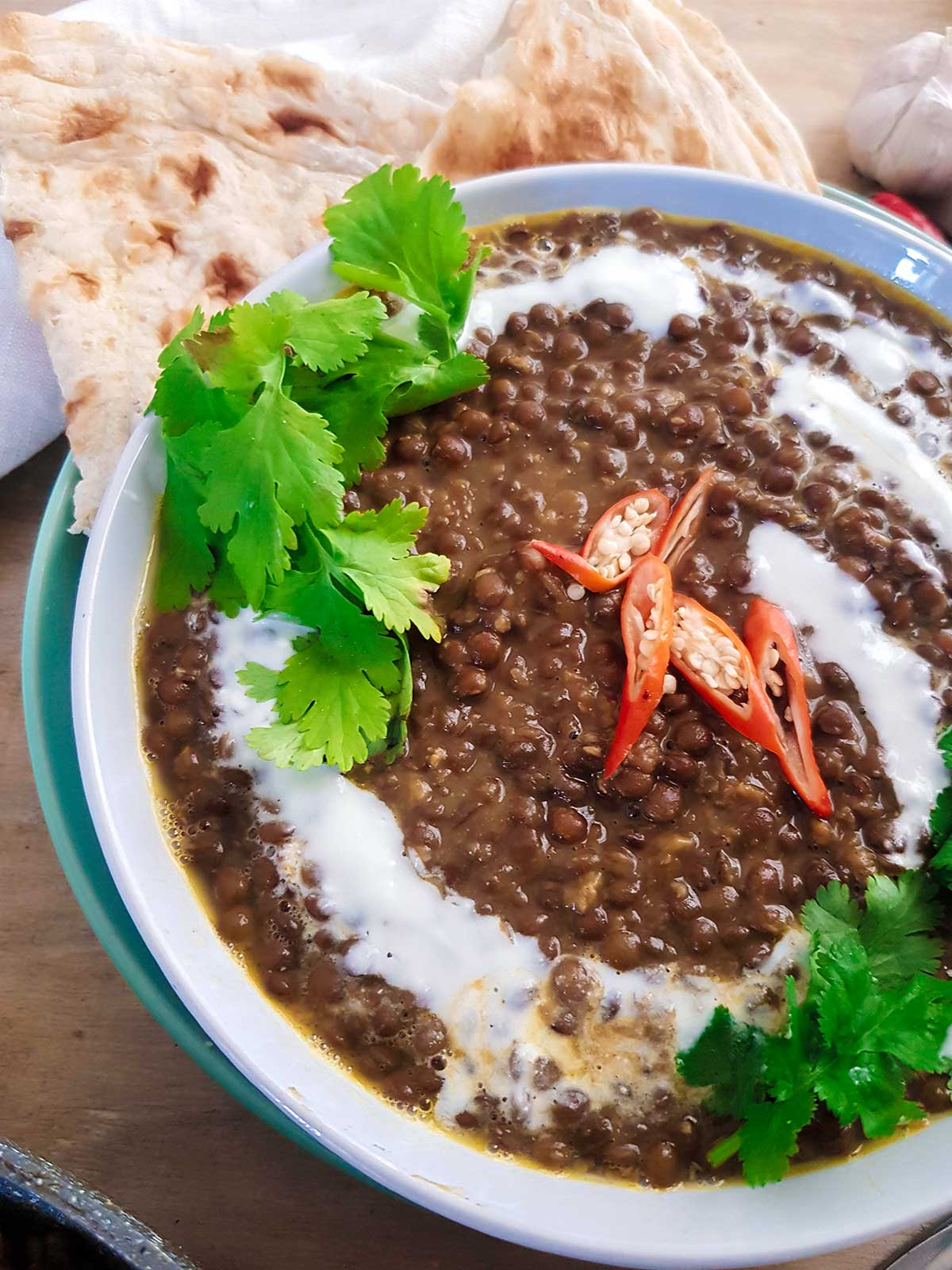 side view of lentil curry bowl
