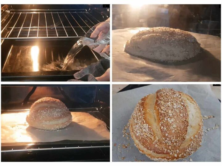 Bake the no knead dough without dutch oven process shots.