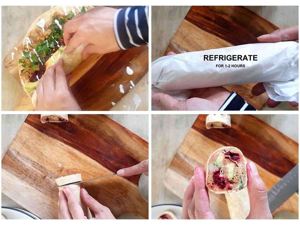 wrapping and slicing vegan pinwheels