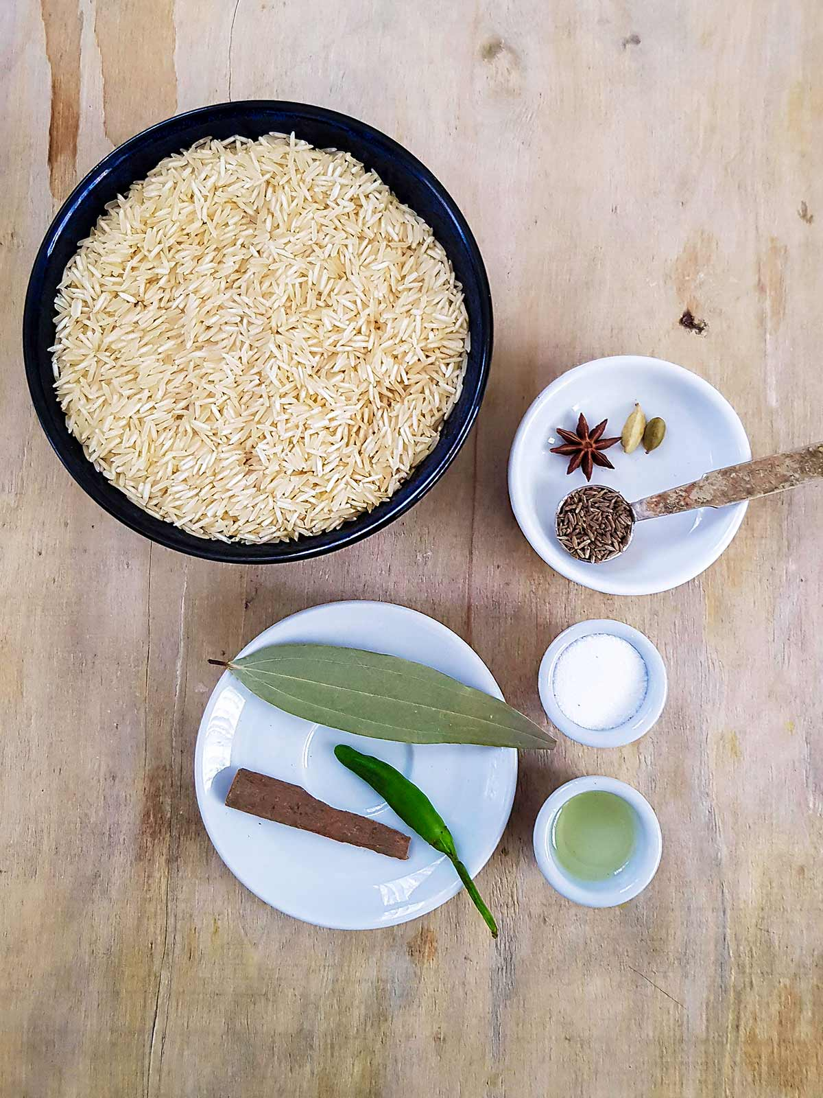 Rice and herbs spices for cooking rice