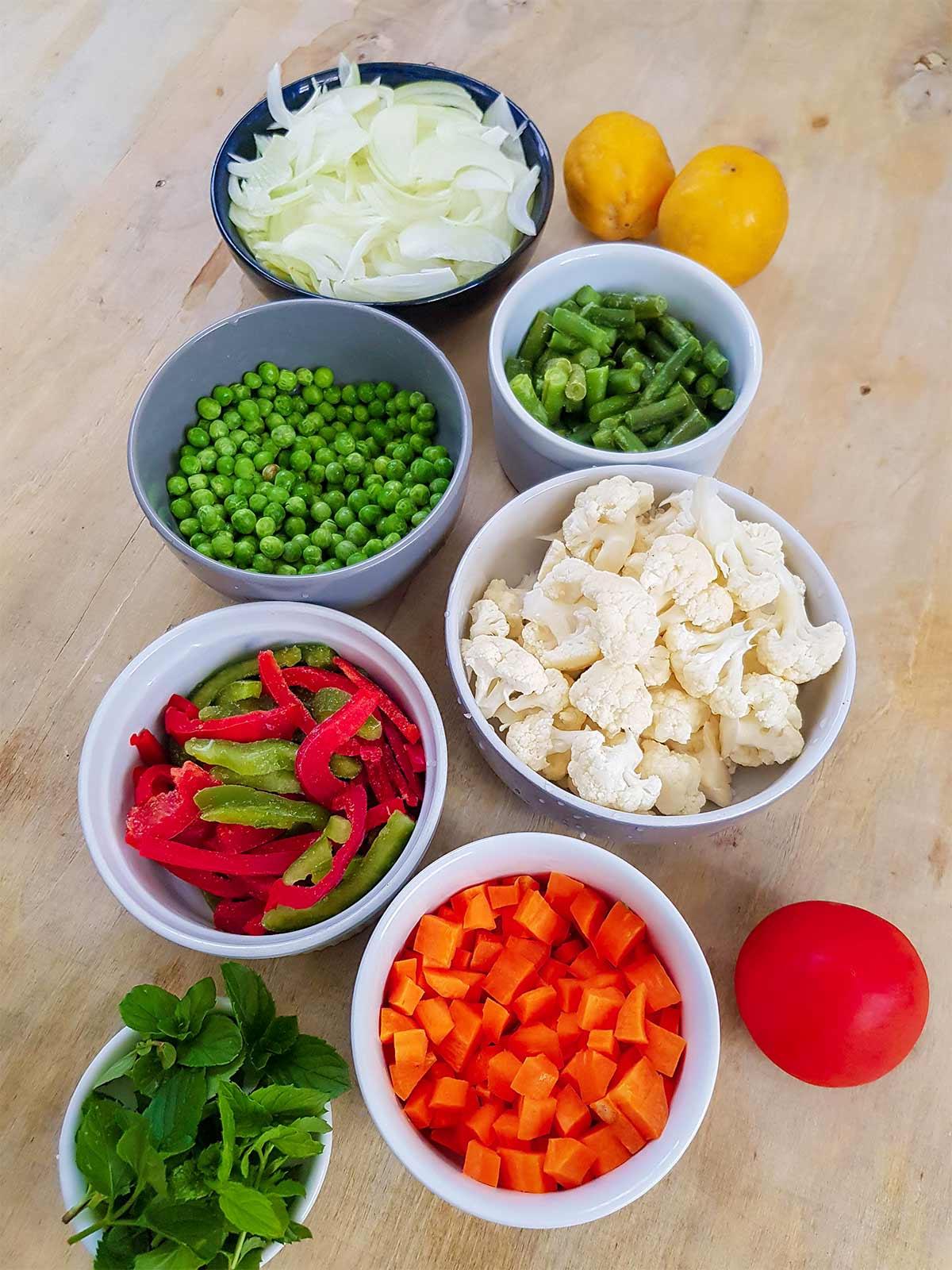 vegetables used in vegan biryani