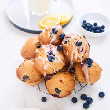 Vegan Blueberry lemon Muffins placed on a steel rack