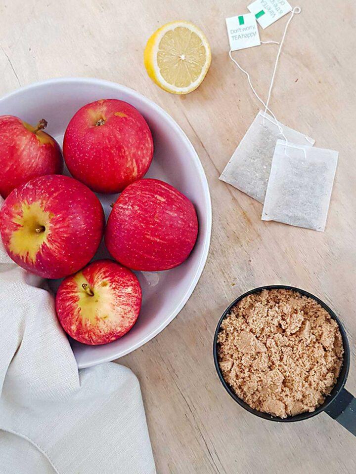 vegan honey ingredients, apples, lemon, teabags, brown sugar