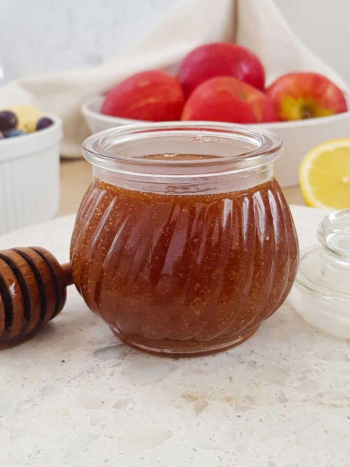 vegan honey stored in an airtight glass jar
