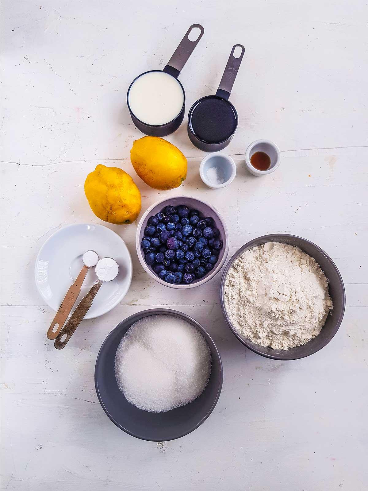 Vegan Blueberry lemon muffins Ingredients