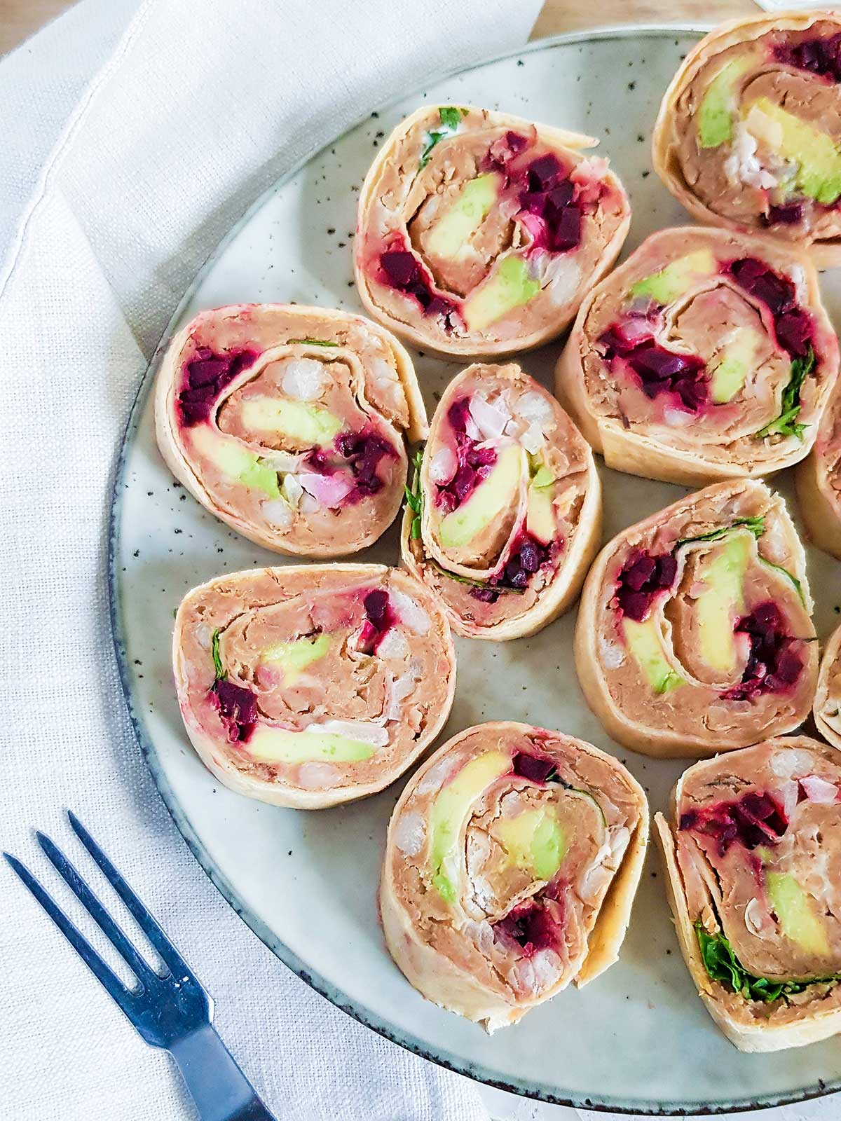 closeup shot of vegan pinwheels