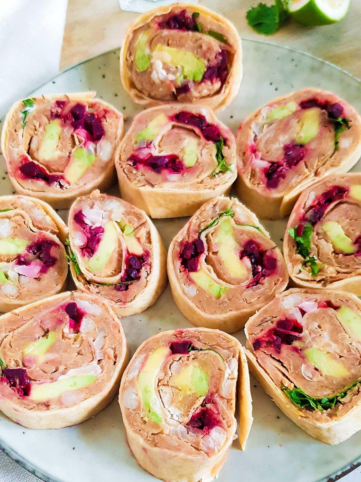 vegan pinwheels in a plate