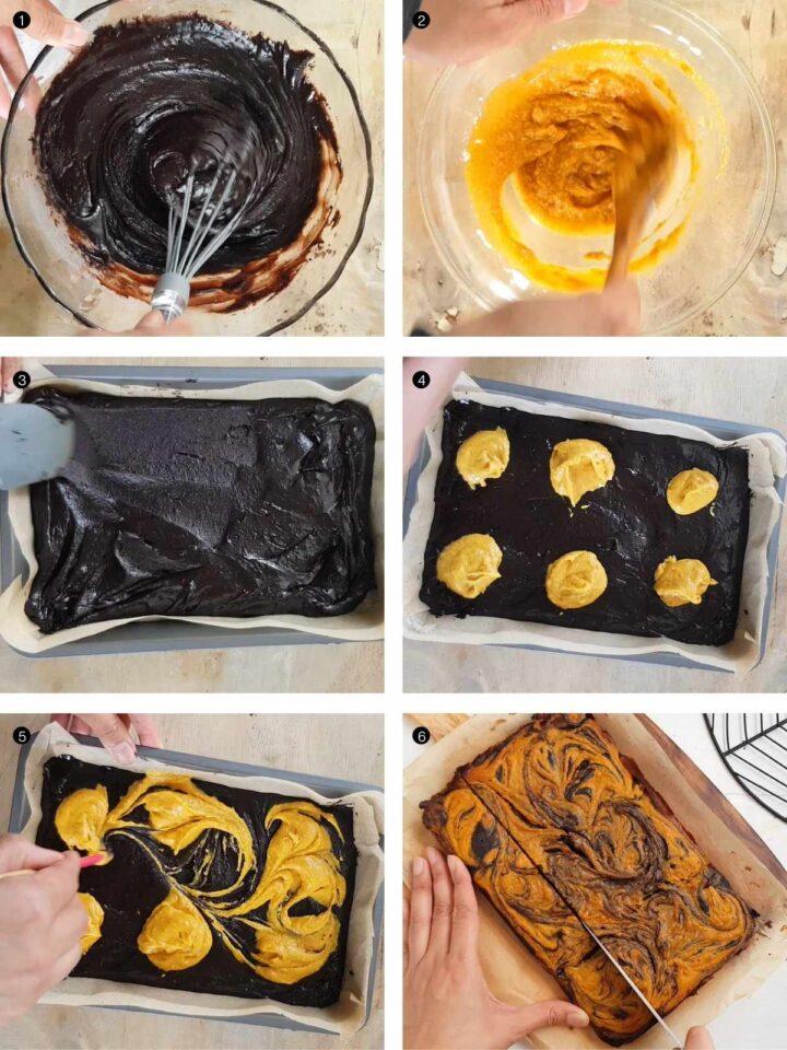 step by step process of vegan pumpkin brownies
