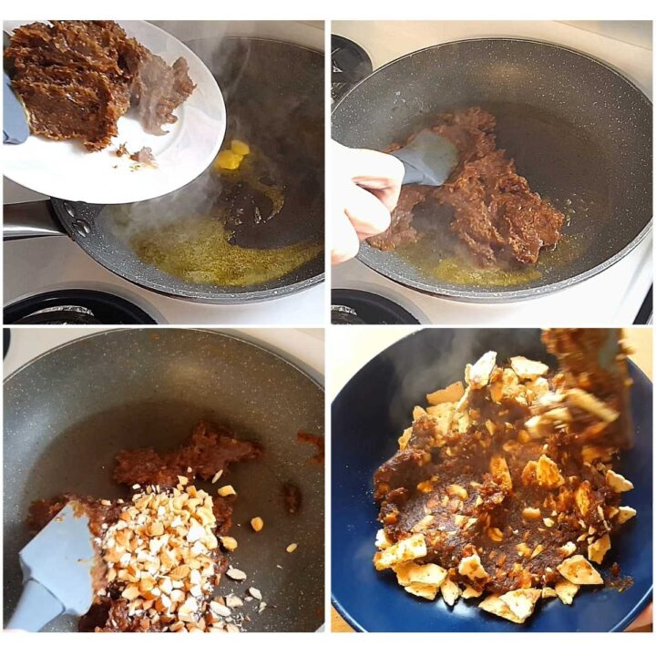 cooking and combining date and nuts