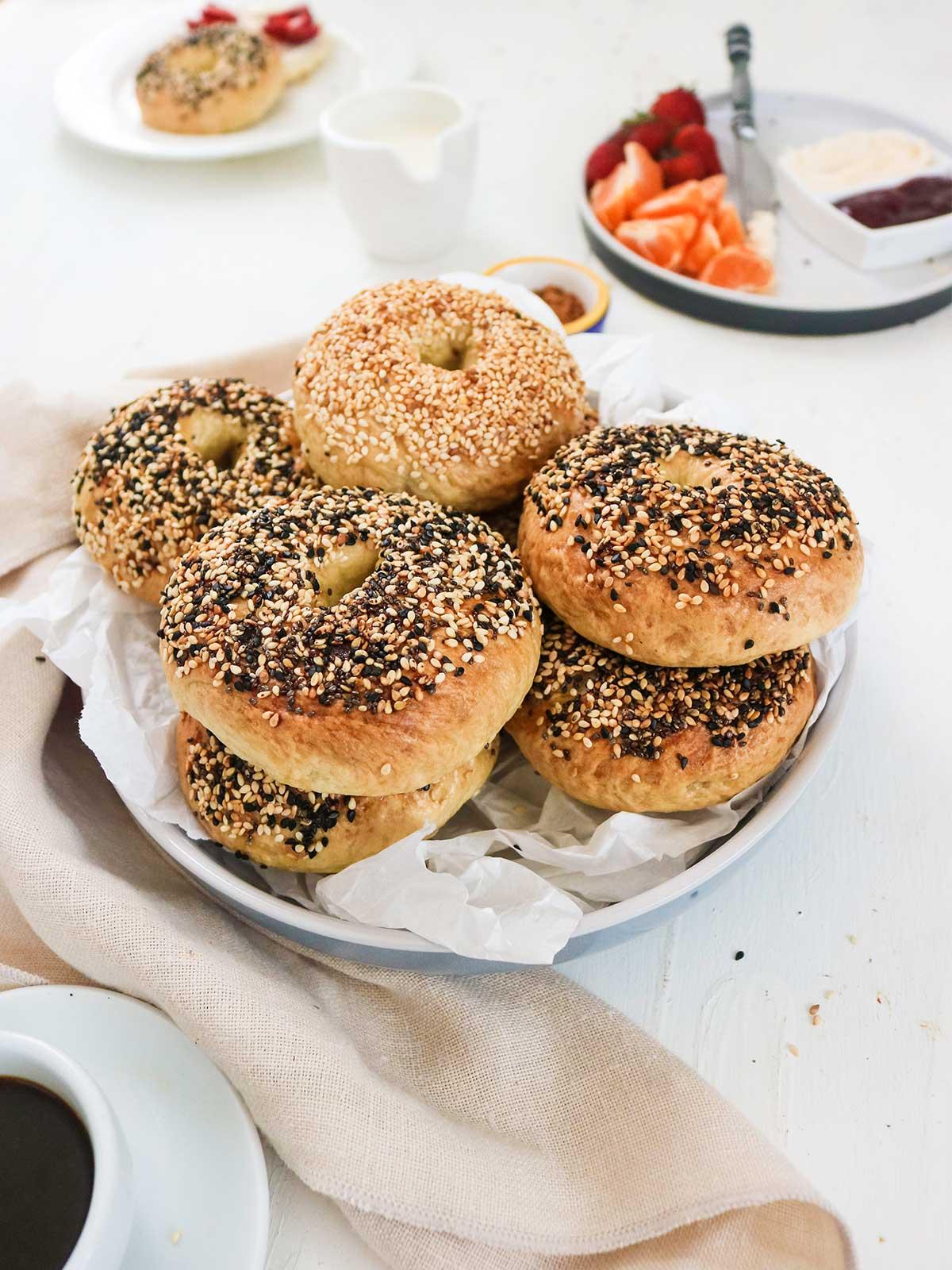 vegan bagel stack on a breakfast table