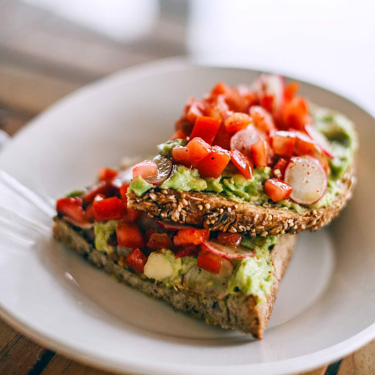 Avocado toast made with vegan bread