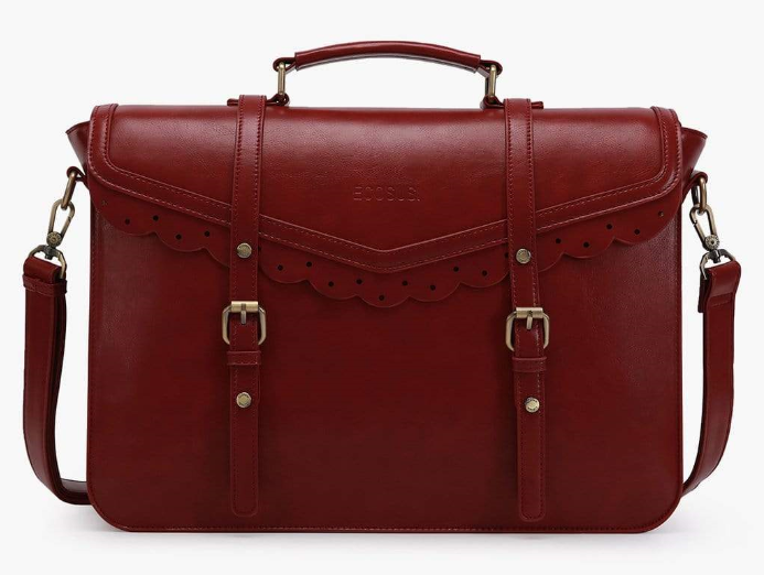 Red color bag with decorative trim