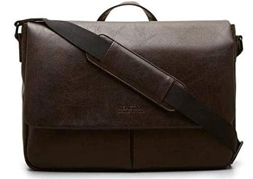 brown vegan leather messenger bag with strap
