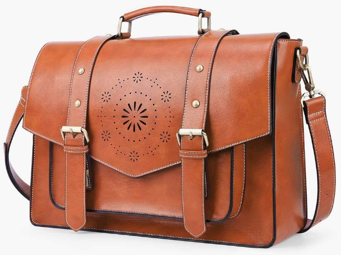 brown color bag with golden buckles